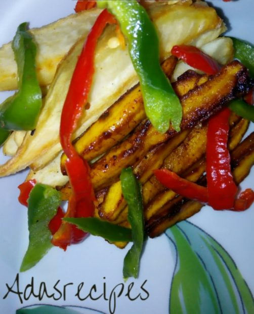 potatoes and plantain fries